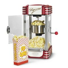 Pop up some family fun with this countertop kettle popcorn machine that's perfect for parties, movie nights and media rooms.