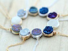 Handmade Druzy Bezel Necklace, Wire Wrapped Jewelry, Portland Oregon