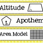 6th, 7th and 8th grade math Common Core based word wall words with illustrations with bright colored Polka Dot backgrounds. Print 3 per page and cu...