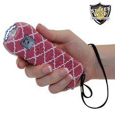 Streetwise Ladies' Choice stun gun alarm with disable pin lanyard and nylon holster simply needs a squeeze to unleash 21,000,000 volts.