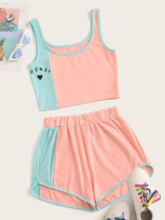 Cut And Sew Letter Print Top With Shorts for Sale Australia Cute Lazy Outfits, Teenage Girl Outfits, Girls Fashion Clothes, Teen Fashion Outfits, Teenager Outfits, Mode Outfits, Outfits For Teens, Fall Fashion, Fashion Dresses