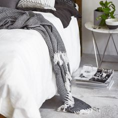 T.D.C   Indie Home Collective: new Online Store   Black + white bedroom   Patterns + Textiles   Modern Home Interiors   Contemporary Decor Design #inspiration #nakedstyle