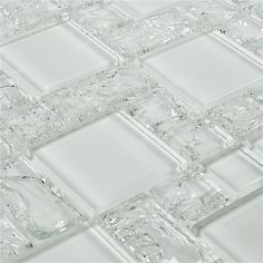 Crackled Glass Mosaic Tile French Pattern Ice