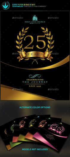 Gold Black plus Teal Anniversary Flyer Template #graduation #extravaganza Download : https://graphicriver.net/item/gold-black-plus-teal-anniversary-flyer-template/21286830?ref=pxcr