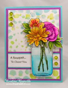 Stampendous Cling Build a Bouquet Stamp Set Mason Jar Cards, Mason Jars, Tableaux D'inspiration, Cool Paper Crafts, Card Crafts, Making Greeting Cards, Get Well Cards, Pop Up Cards, Card Sketches