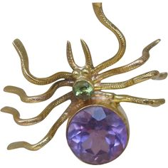 9ct Gold Amethyst Peridot Bug Spider Pendant Antique Victorian..