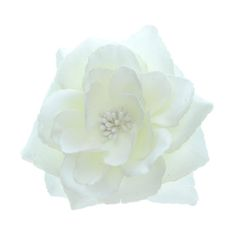 Large White Glitter Rose Hair Clip