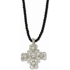 1928 Jewelry - Silver-tone Crystal Cross 16in w/ext Necklace ($37) ❤ liked on Polyvore featuring jewelry, necklaces, silver tone necklace, 1928 necklace, silvertone jewelry, crystal stone jewelry and silver tone jewelry