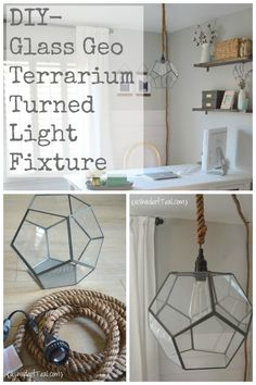 Industrial DIY Glass Geo Terrarium light fixture with rope cord