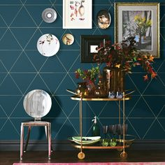 Teal Home Accents Feature Walls - AStreet 56 4 sq ft Twilight Purple Geometric Wallpaper. Decor, Teal Wallpaper, Living Decor, Geometric Wallpaper Teal, Wall Coverings, Beach Bedding Sets, Living Room Decor, Home Decor, Wallpaper Living Room