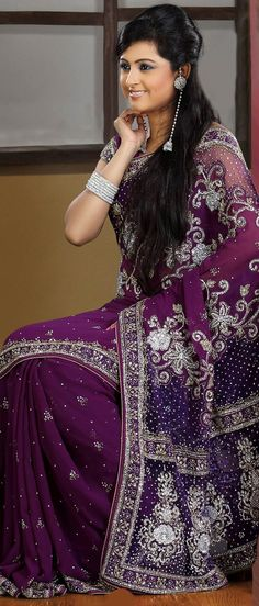 Dark #Purple Pure #Georgette and Net #Saree With Blouse @ $ 279.36