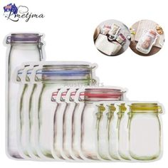 Mason Jar Zipper Bags,Food Storage Snack Sandwich Ziplock Bags,Reusable Airtight Seal Food Storage Bags,Leakproof Food Saver Bags for Travel Camping and Smart Kitchen, Cool Kitchen Gadgets, Kitchen Tools, Fun Gadgets, Unique Gadgets, Kitchen Drawers, Kitchen Items, Kitchen Utensils, Wallpapers Galaxy