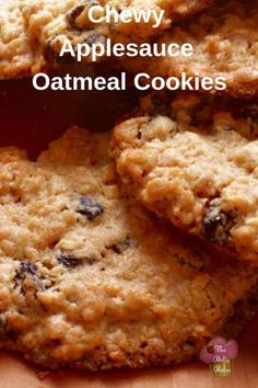 Chewy Applesauce Oatmeal Cookies 4 large egg whites 1 cup brown sugar (COCO SUG) 2 cups unsweetened applesauce (APPLE PULP 1 teaspoon vanilla 2 cups flour (Bob GF 2 cups old fashioned oatmeal 1 teaspoon baking soda 1 ½ teaspoons cinnamon Brownie Cookies, Cookie Desserts, Just Desserts, Cookie Recipes, Delicious Desserts, Dessert Recipes, Cake Cookies, Cupcakes, Dinner Recipes