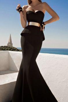 Galia Lahav Moonstruck Fashion Collestion Evening Black Dresses Gold Bracelet