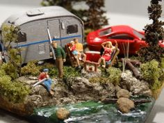 N-Scale Camp Site Diorama - Close-Up View: