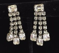 Weiss Vintage Art Deco Clear Rhinestone Earrings, SB Dangles with Faceted Emerald Cut Stones, Brilliant Clear Rhinestones, 1.5 Inches Long