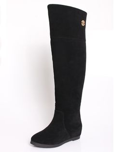 Suede Concealed Wedge Long Boots With Shearling | Choies