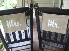 Mr and Mrs Burlap Rustic Wedding Decor Banners
