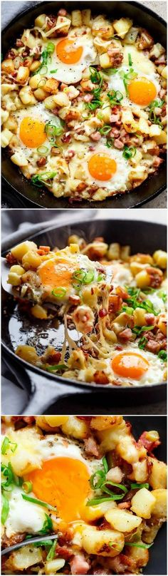 Cheesy Bacon and Egg Hash for breakfast, brunch, lunch or dinner! - Cheesy Bacon and Egg Hash for breakfast, brunch, lunch or dinner! Easy to make and ready in 30 minutes -- all in one skillet or pan! Breakfast Dishes, Breakfast Time, Breakfast Skillet, Breakfast Hash, Breakfast Potatoes, Bacon And Egg Breakfast, Healthy Breakfast Sandwiches, Healthy Breakfast Meals, Breakfast Egg Recipes