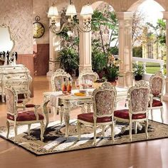 Oval Dining room wood table painted silver | antique dining room/solid wood dining set/dining table/dining chair