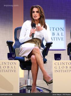 Queen Rania at Clinton Global Initiative. Queen Rania joined the World Economic Forums (WEF) Foundation Board in 2002 and she is also on the Foundation Board of the Forum of Young Global Leaders. She participates in panels and private sessions at the WEF on many diverse topics promoting global citizenship, youth, leadership, women, sustainability and education reform.