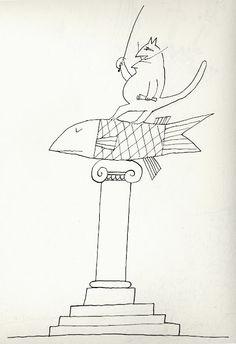 Saul Steinberg cat drawing