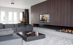 In the Control Design of apartment, with luxury materials and Highly Exclusive, living room and garden are an inspiration. Home Fireplace, Modern Fireplace, Fireplace Design, Living Room Tv, Home And Living, Victorian Internal Doors, Interior Design Living Room, Living Room Designs, Boffi