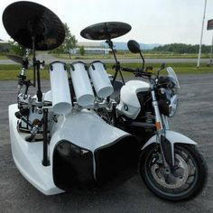 It seems that the creator of this ultimately badass BMW motorcycle custom fitted with full on drum kit sidecar is passionate about biking and percussion and don't wanna miss either…