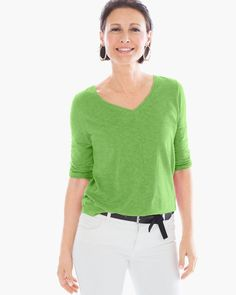 Chico's Women's Vera V-Neck Tee, Chive Green, Size: 3 (16/18 XL)