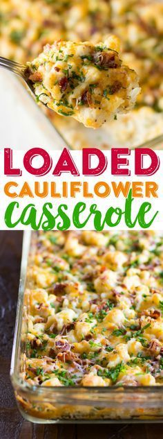 Loaded Cauliflower Casserole Recipe Cheesy Cauliflower Casserole Baked Cauliflower Dinner Easy Cauliflower Casserole Use smoked beef for muslim! Veggie Dishes, Vegetable Recipes, Food Dishes, Potato Recipes, Chicken Recipes, Hot Veggie Side Dish, Healthy Chicken, Diced Ham Recipes, Vegetable Soups