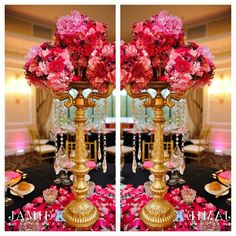 Pink and Gold wedding decor. Tall centerpiece with hanging crystals, but with lighter pink Engagement Party Centerpieces, Pink Wedding Centerpieces, Bridal Shower Decorations, Wedding Reception Decorations, Tall Centerpiece, Centerpiece Ideas, Pink And Gold Wedding, Gold Wedding Theme, July Wedding