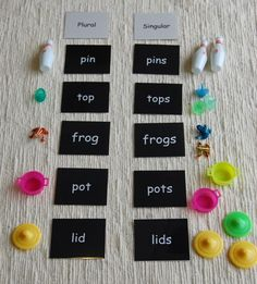 I used this in Montessori for singular/plural nouns. I had different words and objects, but it works.