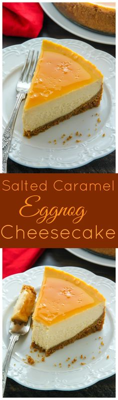 Creamy eggnog cheesecake topped with homemade salted caramel sauce! This holiday dessert is irresistible.