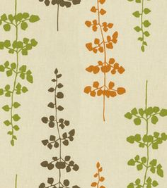 graphic leaves in green, orange, blue