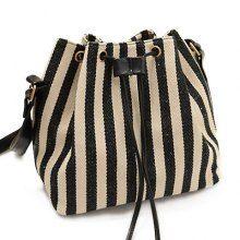 Stylish Stripe and String Design Crossbody Bag For Women