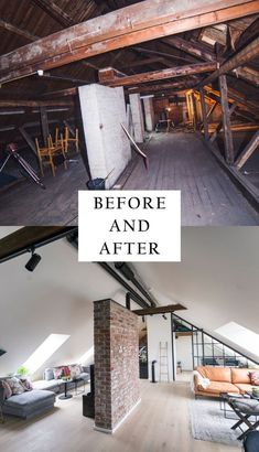 would have thought that such a bulky attic could become such a beautiful living room? -Who would have thought that such a bulky attic could become such a beautiful living room? Attic Bedroom Designs, Attic Bedrooms, Attic Design, Bedroom Ideas, Attic Loft, Loft Room, Attic Office, Attic Renovation, Attic Remodel