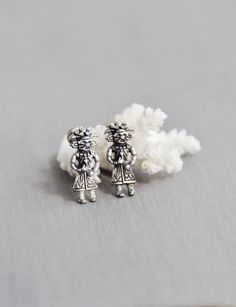 Vintage Sterling Kachina Earrings - tiny silver screw backs - Southwestern Native American Hopi Zuni - spirit dancer doll by…