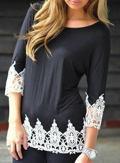 Stylish Scoop Neck 3/4 Sleeve Lace Splicing T-Shirt