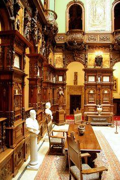 Peles Castle, Romania by Eduard Wichner. Palace Interior, Mansion Interior, Peles Castle, Medieval Castle, Beautiful Castles, Beautiful Places, Inside Castles, Castle Wall, Castle Rooms