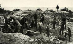 "Co. C ""Perote Guards"" of the 1st Alabama Infantry manning coastal artillery at Pensacola, FL, 1861. Taken by J. D. Edwards."