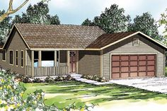 Ranch Exterior - Front Elevation Plan #124-303 - Houseplans.com