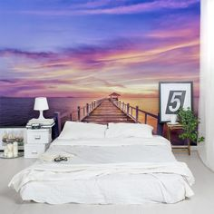 The feeling of living in paradise, and it is right in your home! This Thailand Pier Sunset Wall Mural is great for an accent wall or the entire room. These removable and re-positionable mural panels are an easy way to decorate any wall in your home. Unusual Wallpaper, Photowall Ideas, Removable Wall Murals, Bedroom Decor, Wall Decor, Wall Murals Bedroom, Bedroom Ideas, Purple Sunset, Style Deco