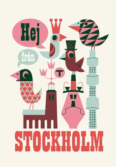 Retro Stockholm Poster von Ingela P Arrhenius - Mummy Mag Travel with Kids in Schweden City Poster, Poster S, Poster Prints, Art Prints, Lagom Design, Web Design, Illustrator, Illustrations Vintage, Nature Color Palette