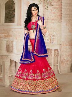 Red Silk A Line Lehenga Choli 90603