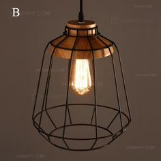 Industrial Loft Black Metal Cage Single Light Wood Art Pendant Light
