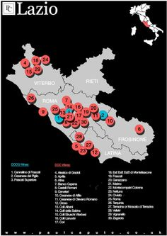 DOC and DOCG Map of Lazio Italy