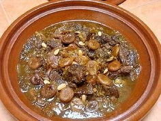 Saffron, cinnamon, ginger, and pepper are key seasonings in this sweet and spicy Moroccan tagine that you can make with beef or lamb. Moroccan Tagine Recipes, Moroccan Beef, Moroccan Dishes, Prune Recipes, Raisin Sec, Morrocan Food, Apricot Recipes, Cream Recipes, Ras El Hanout