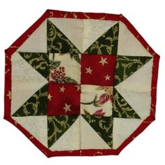 A Sawtooth Star Table-mat and Coaster Set. Patchwork Patterns, Make Your Own, How To Make, Coaster Set, Seasons, Stars, Holiday Decor, Table, Projects