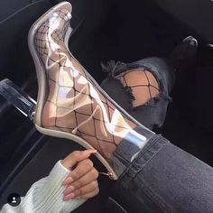 toe Transparent Ankle Boots - Gucci Boots - Ideas of Gucci Boots - Shoespie Peep-toe Transparent Ankle Boots Chunky High Heels, High Heel Boots, Shoes Heels Boots, Heeled Boots, Ankle Boots, Gladiator Boots, Dress Shoes, Cute Shoes, Me Too Shoes
