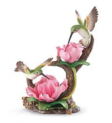 Hummingbirds with Peonies Porcelain Figurine
